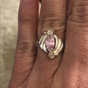 Size 7 pink quartz and sterling silver ring